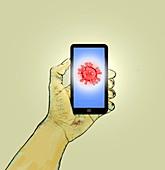 Coronavirus app, conceptual illustration