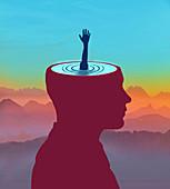Mental distress, conceptual illustration