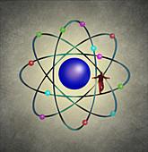 Tightrope walker on atom, illustration