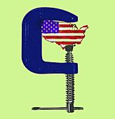 US in crisis, conceptual illustration