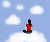 Woman meditating, illustration