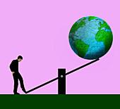 Man controlling Earth's future, conceptual illustration