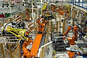 Robotic assembly line in a car factory