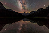 Milky Way, Mars and Jupiter over a mountain lake