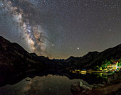 Milky Way and Jupiter over a mountain lake