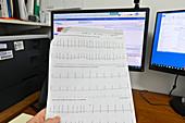 ECG printout showing tachycardia