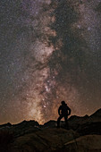 Man observing the Milky Way