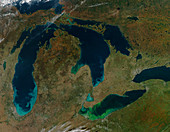 Sediment and algae, Great Lakes, USA, satellite image