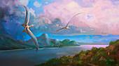 Cimoliopterus pterosaurs in flight, illustration