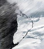 A-74 iceberg calving from Brunt Ice Shelf, satellite image