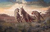 Extinct hyena-like Dinocrocuta hunting, illustration