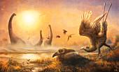 Falcatakely prehistoric birds, illustration