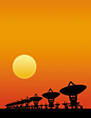 Radio telescopes, illustration