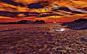 Rover landing on Titan, illustration
