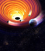Black hole capturing planets, illustration