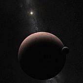 Dwarf planet Makemake with orbiting moon, illustration