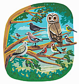Birds perched in a tree, illustration