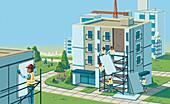 Workmen refurbishing blocks of flats, illustration