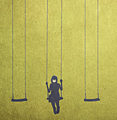 Girl on swing wearing a face mask, illustration
