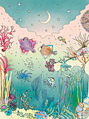 Sea creatures underwater, illustration