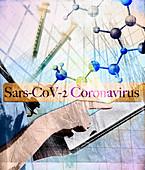 Researching SARS-CoV-2 coronavirus, illustration
