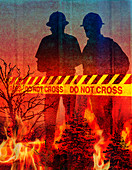 Firefighters responding to a wildfire, illustration