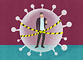 Quarantine during Covid-19 pandemic, illustration