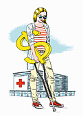 Hospital patient with a dollar sign crutch, illustration