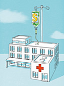 Infusion of dollars for a hospital, conceptual illustration