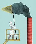 Carbon capture, conceptual illustration