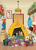 Family camping indoors, illustration