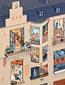 Life in lockdown, illustration