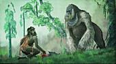 Extinct giant gorilla, illustration