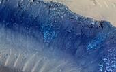 Landslides on Mars, satellite image