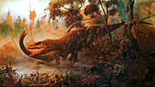 Megalosaurus attacking a Cetiosaurus, illustration