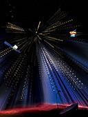 Gamma rays flooding detectors on satellites, illustration