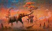 Mastodon prehistoric mammal, illustration