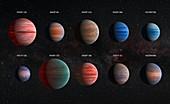 Ten hot Jupiter exoplanets, illustration