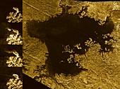Hydrocarbon sea on Titan, radar images