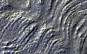 Ridges on the surface of Mars, radar image