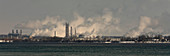 Industrial plants along the St Clair River, Ontario, Canada