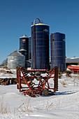 Silos on a farm, Michigan, USA