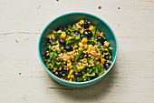 Bulgur salad with sweetcorn, rocket and blueberries