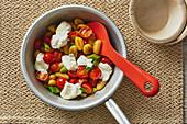 Gnocchi with tomatoes and burrata