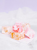 Sugar coated cubes of Turkish delight