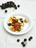Mediterranean salad with feta and grapes