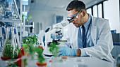 Scientist looking at a lab-grown vegan meat