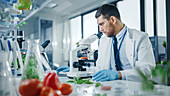 Scientist in safety glasses analyzing a lab-grown food