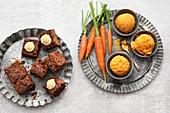 Vegan carrot-ginger sorbet and carrot cakes