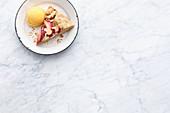 Vegan peach sorbet and peach galette